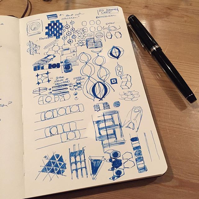 Researching/exploring patterns with my trusty fountain pen