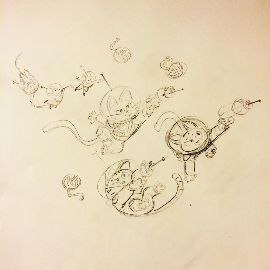 more space kitten doodles