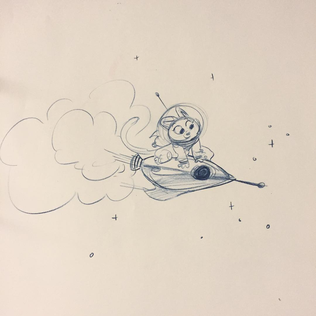 space kitteh on a ride
