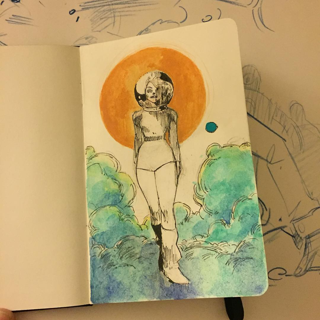 gonna give watercolor AND inktober a shot. Definitely inspired by @mitografia_kr sketchbook. (His instagram is amazing – check it out.) Also, the kremer pigments are crazy different than what I'm used to!